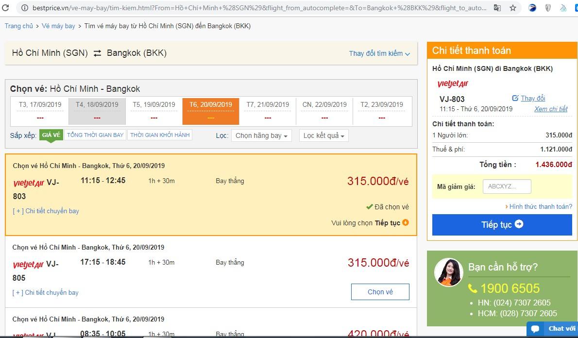 Giá vé máy bay tới Bangkok  vào tháng 09