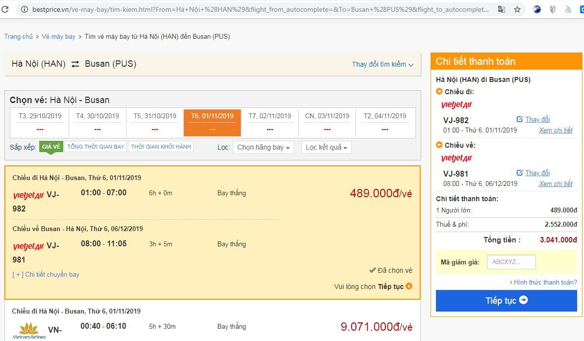 Giá vé máy bay tới Busan vào tháng 11