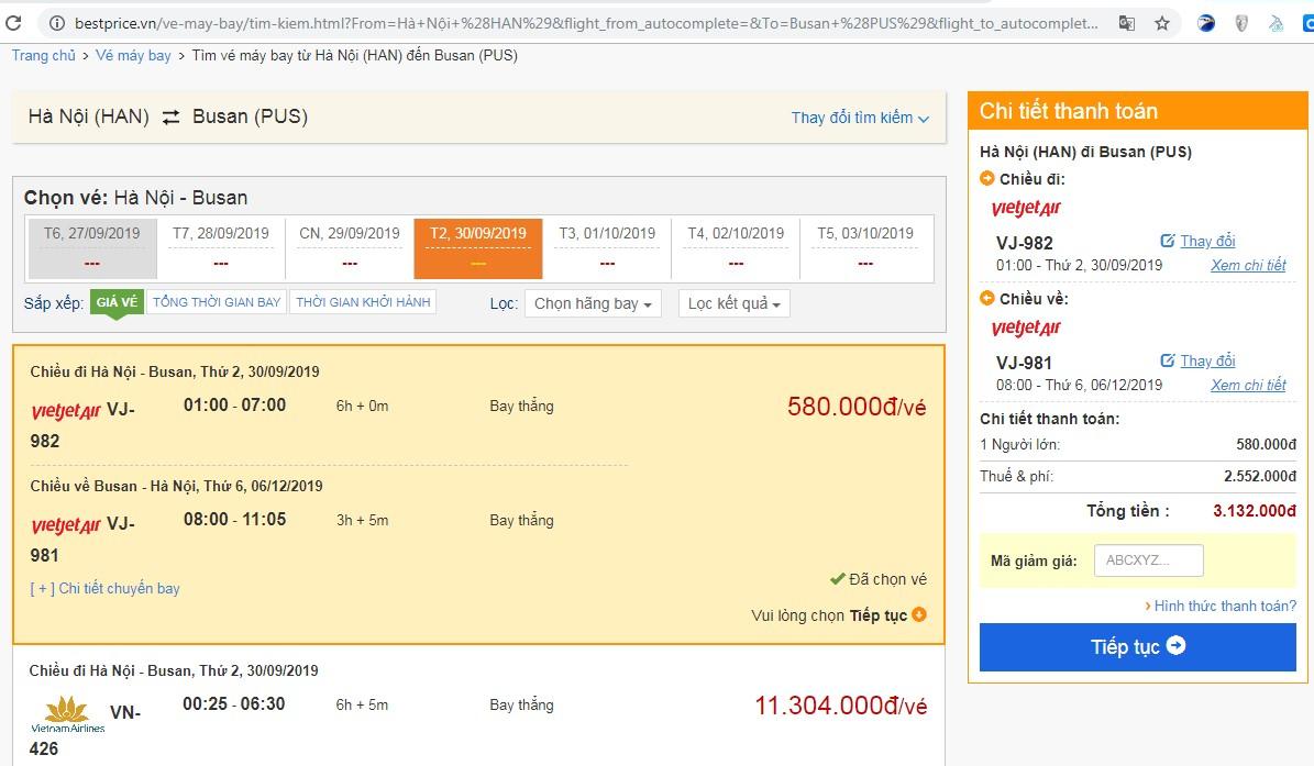 Giá vé máy bay tới Busan vào tháng 09