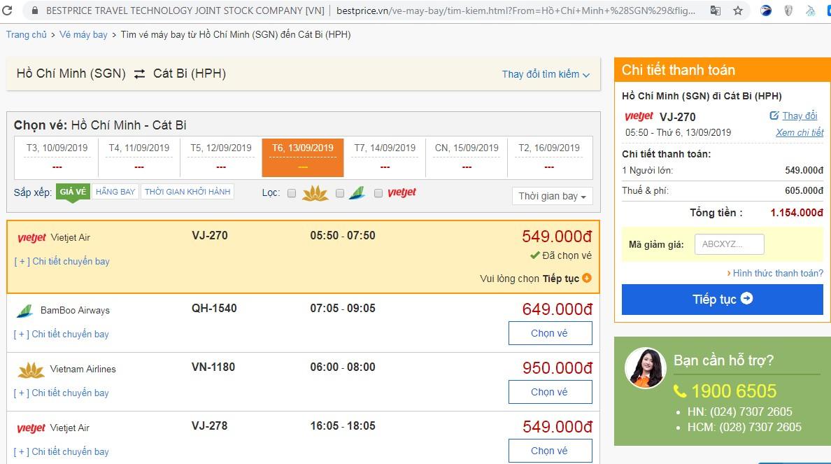 Giá vé máy bay tới Cát Bi (Hải Phòng) vào tháng 09