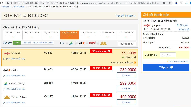 Giá vé máy bay tới Đà Nẵng vào tháng 12