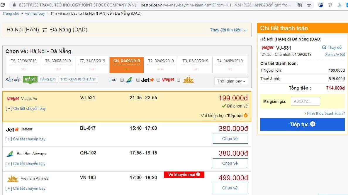 Giá vé máy bay tới Đà Nẵng vào tháng 09