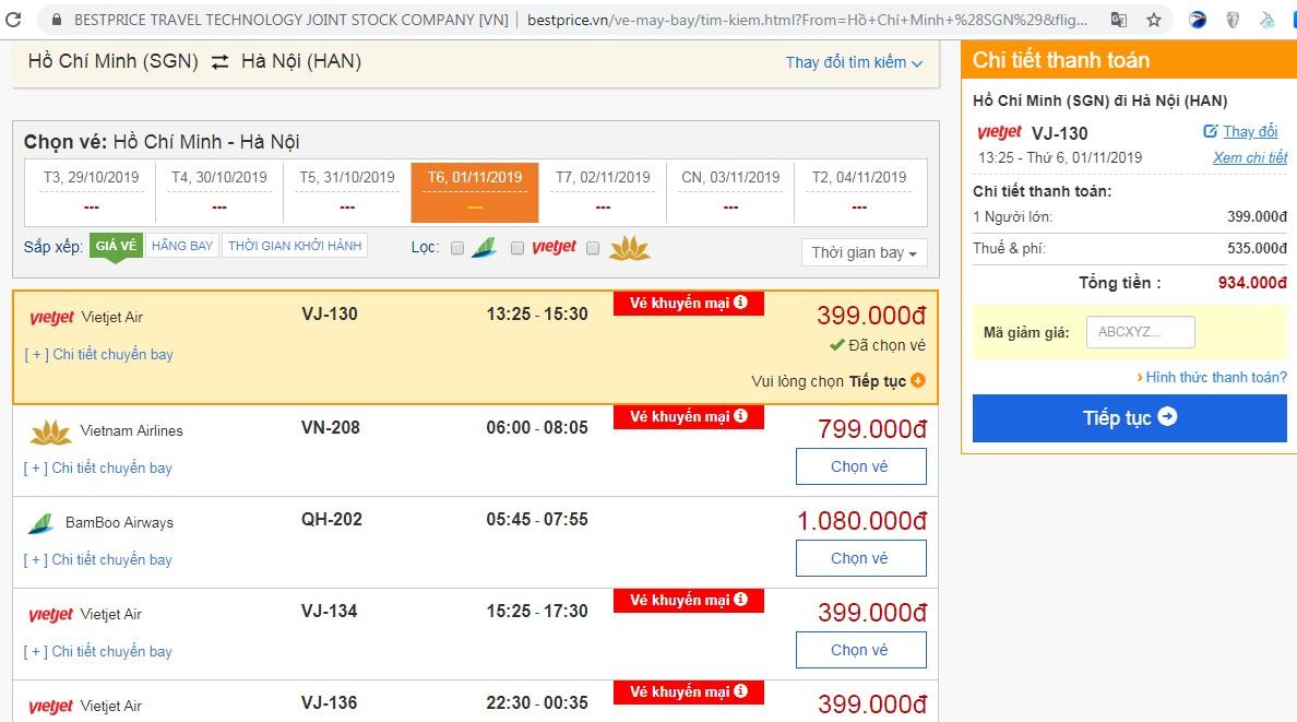Giá vé máy bay tới Hà Nội vào tháng 11 (chưa gồm thuế phí)