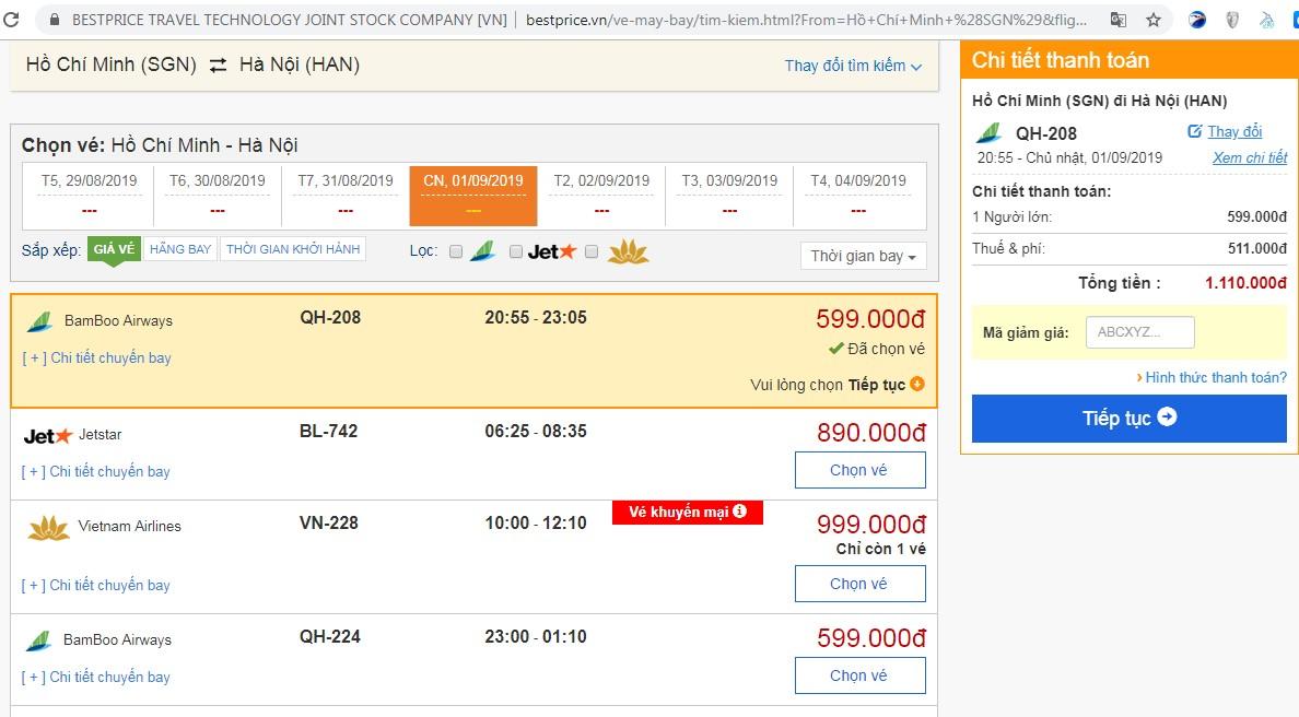 Giá vé đi Hà Nội vào đầu tháng 9 (chưa bao gồm thuế phí)