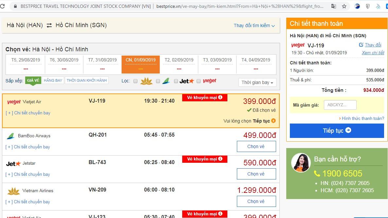 Vé máy bay đến Hồ Chí Minh tháng 09