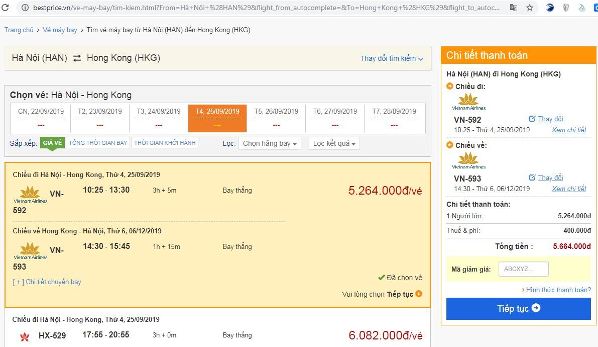 Giá vé máy bay tới Hongkong vào tháng 11
