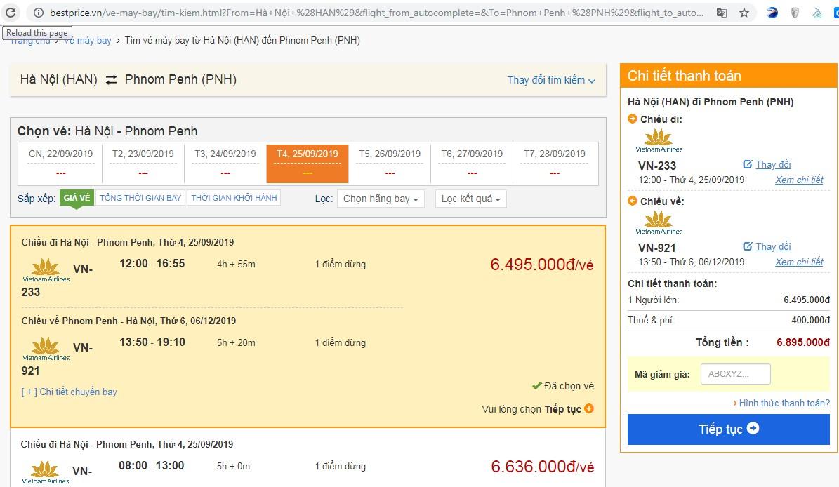 Giá vé máy bay tới Phnom Penh vào tháng 9