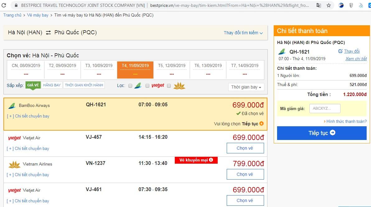 Vé máy bay đi Phú Quốc vào tháng 9