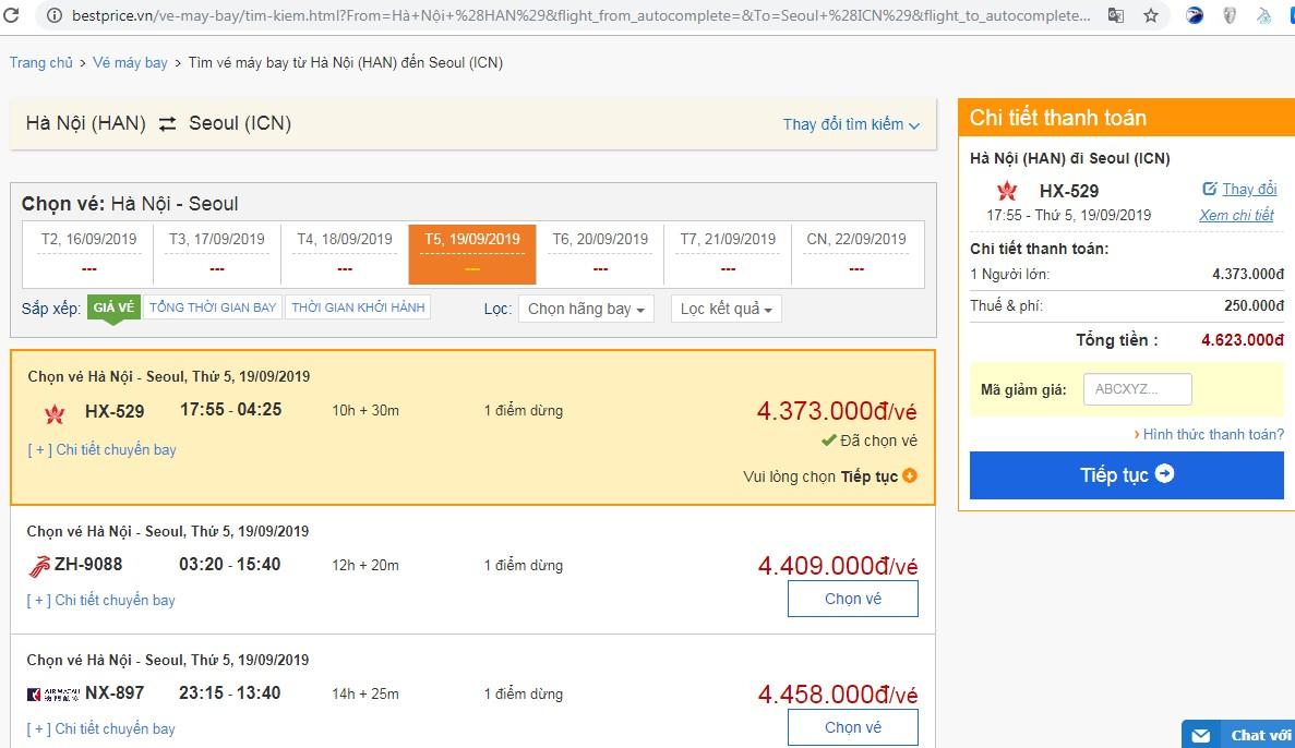 Giá vé máy bay tới Sân bay Seoul vào tháng 09
