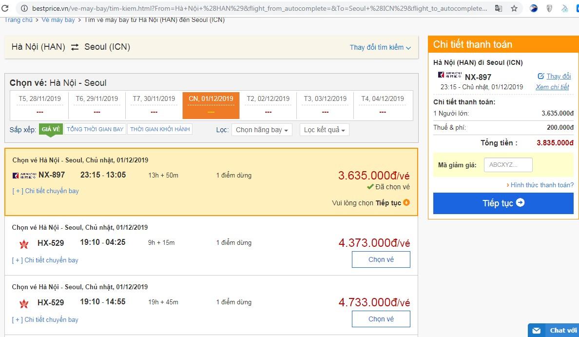 Giá vé máy bay tới Sân bay Seoul vào tháng 12