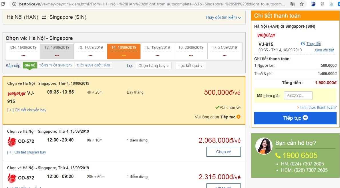Giá vé máy bay tới Singapore vào tháng 09