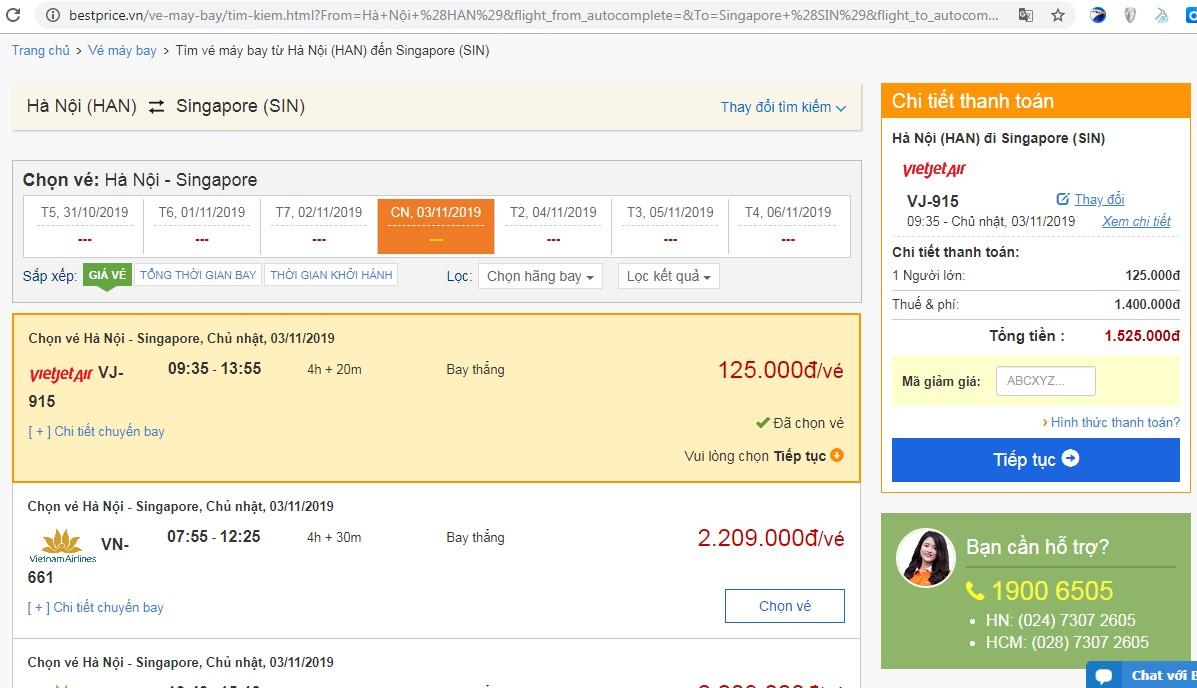 Giá vé máy bay tới Singapore vào tháng 11