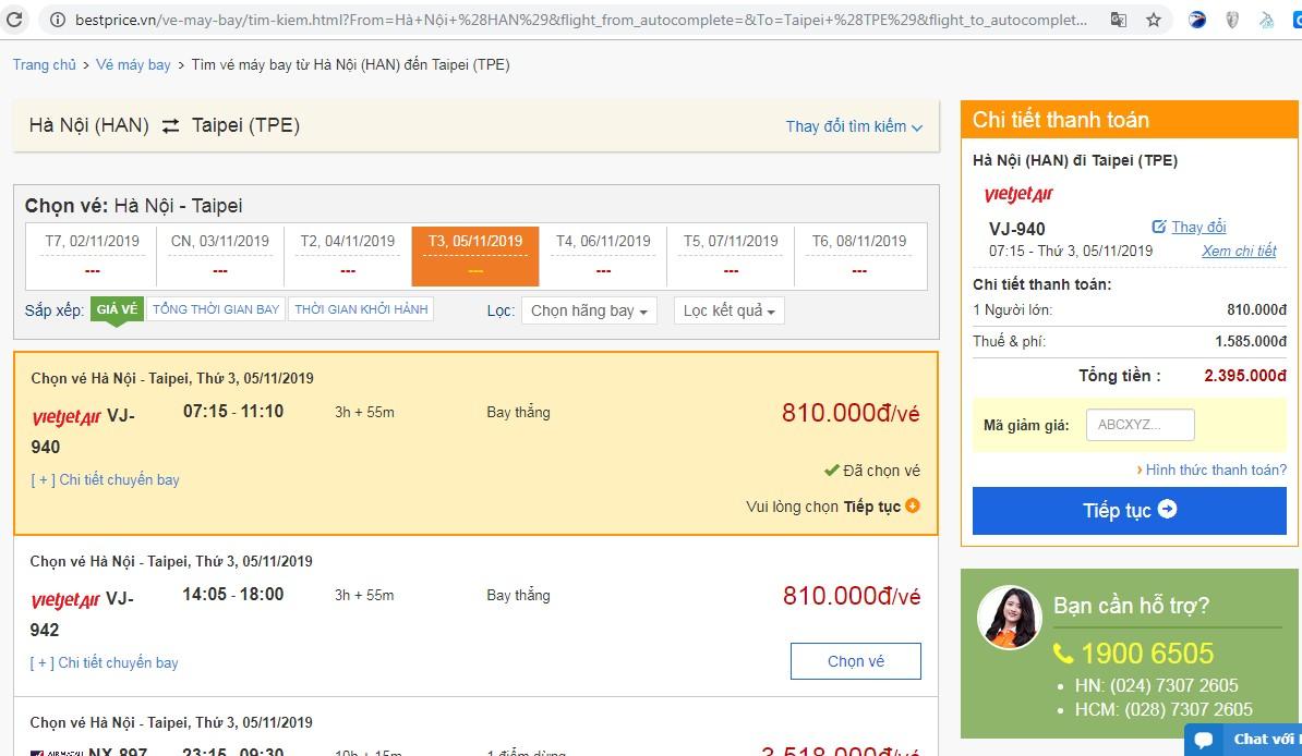 Giá vé máy bay tới Taipei (Đài Bắc) vào tháng 11