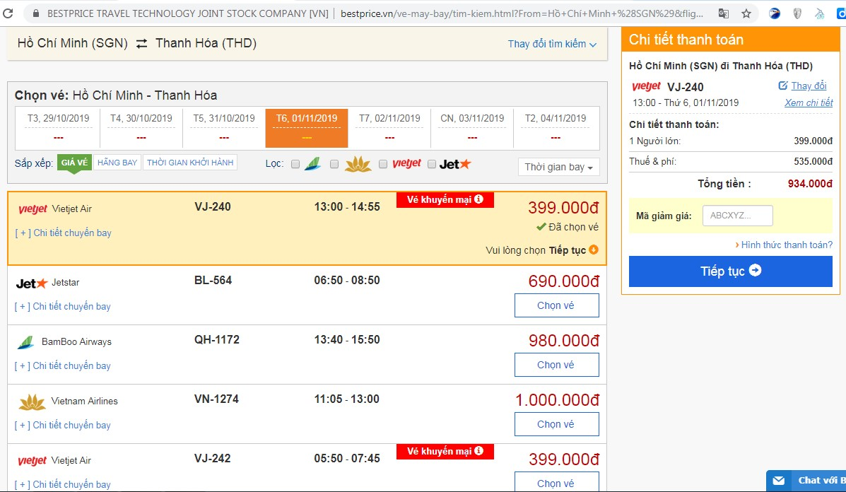Giá vé máy bay tới Thanh Hóa vào tháng 11 (chưa gồm thuế phí)
