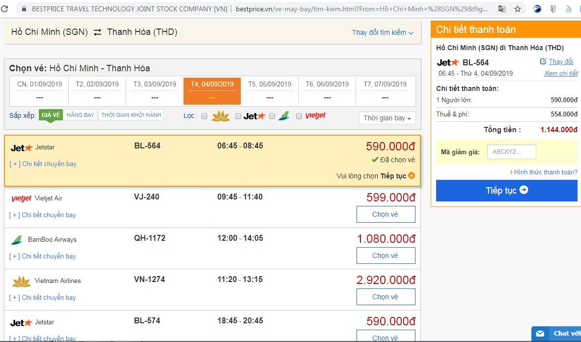Giá vé đi Thanh Hóa vào đầu tháng 9 (chưa bao gồm thuế phí).