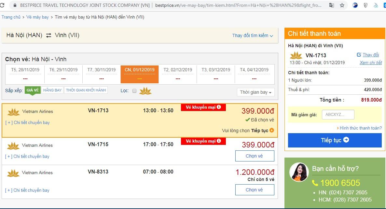 Giá vé máy bay tới Vinh vào tháng 12