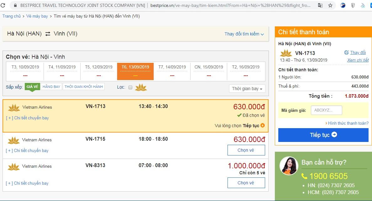 Giá vé máy bay tới Vinh vào tháng 9