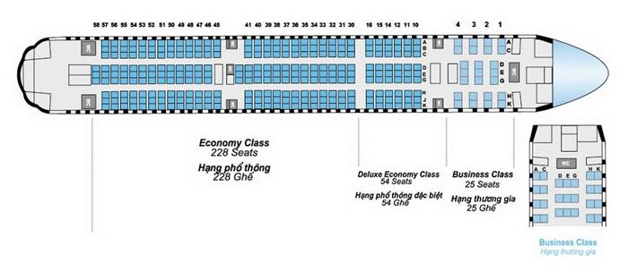Các vị trí ngồi của của hãng Bamboo Airways