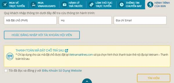 Giao diện website của Vietnam Airlines để kiểm tra vé máy bay
