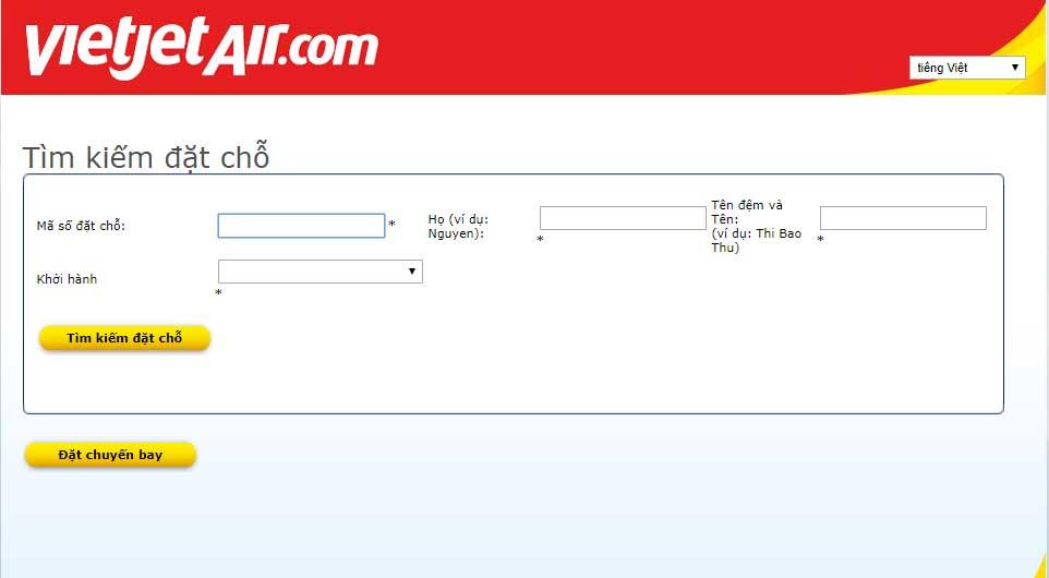 Giao diện website của Vietjet Air để kiểm tra vé máy bay