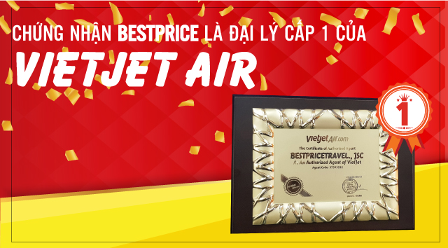 Chứng nhận BestPrice là đại lý cấp 1 của hãng hàng không Vietjet Air