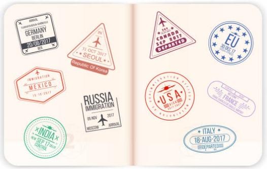 Dấu mộc các quốc gia đóng trên hộ chiếu