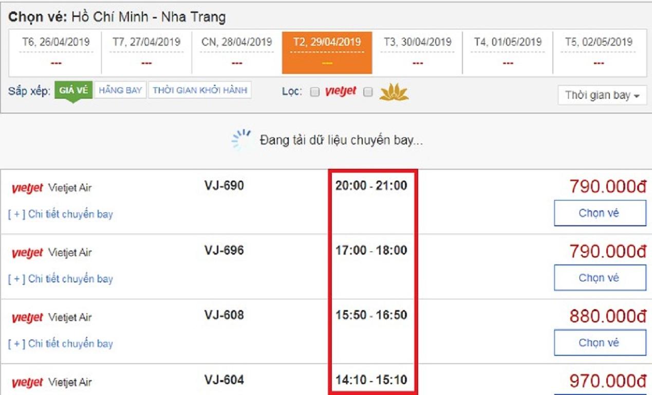 Thời gian bay từ Sài Gòn đi Nha Trang