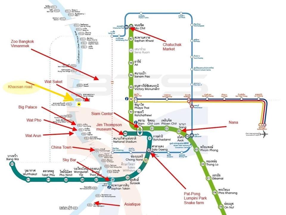 Bản đồ tàu điện BTS ở Bangkok, Thái Lan