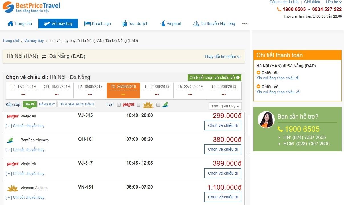 Đặt vé máy bay giá rẻ trực tuyến tại bestprice.vn