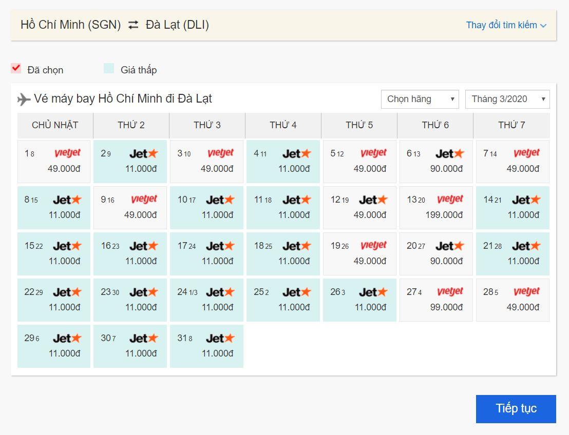 Vé máy bay giá rẻ Hồ Chí Minh đi Đà Lạt