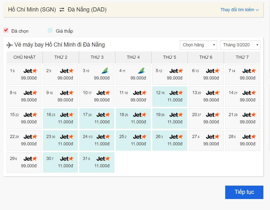 Vé máy bay giá rẻ Hồ Chí Minh đi Đà Nẵng
