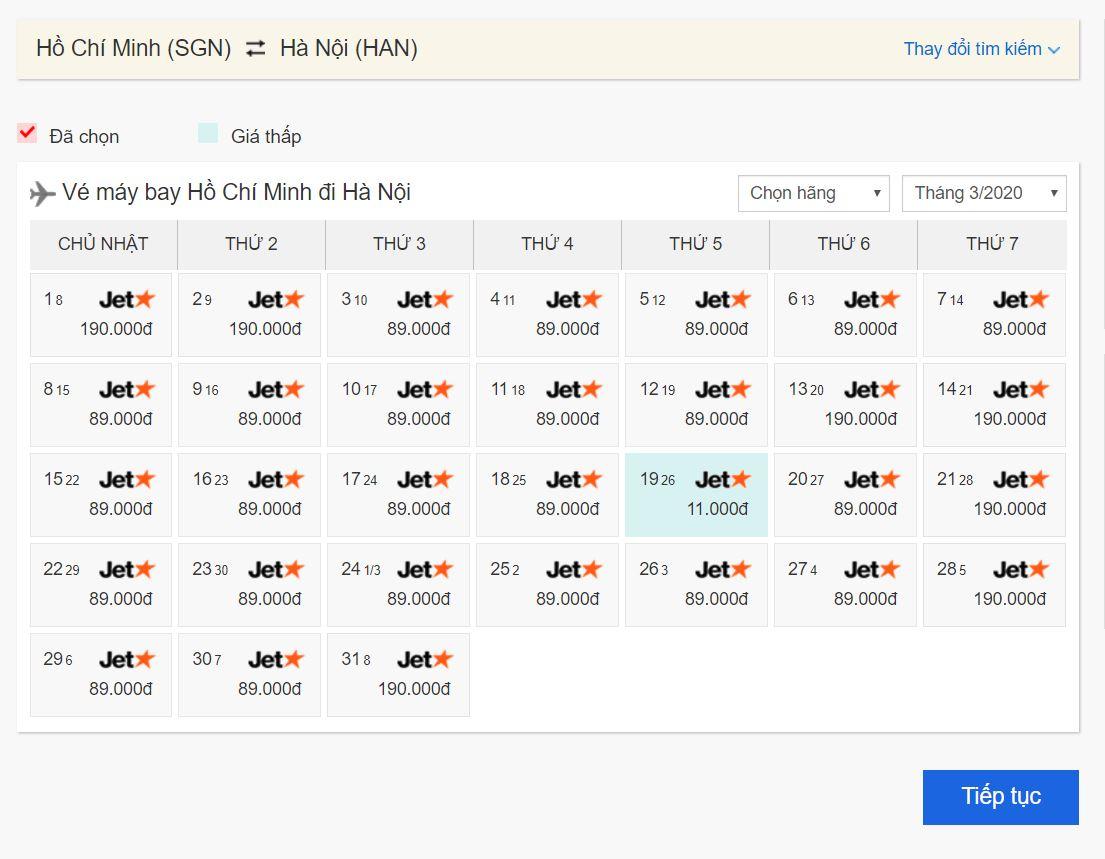 Vé máy bay giá rẻ Hồ Chí Minh đi Hà Nội