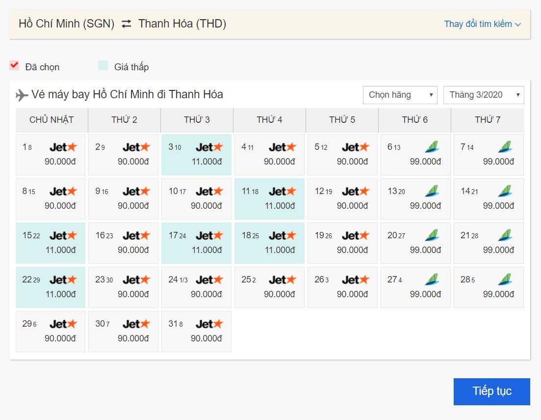 Vé máy bay giá rẻ Hồ Chí Minh đi Thanh Hóa