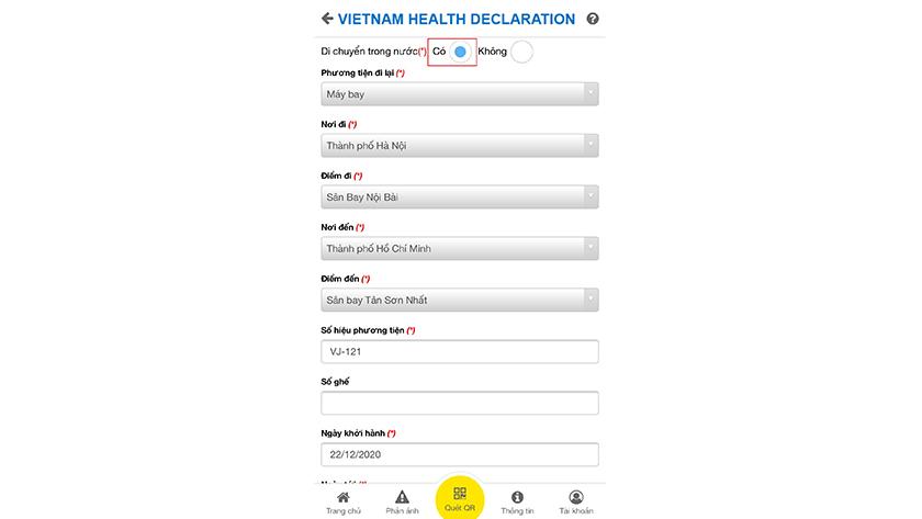 Cách khai Di chuyển nội địa bằng máy bay qua app Vietnam Health Declaration