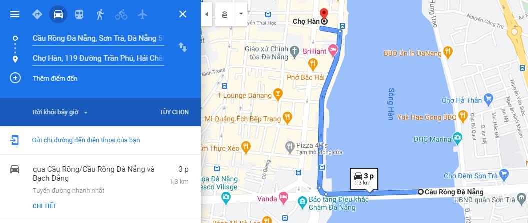 Bản đồ di chuyển từ Cầu Rồng đến chợ Hàn Đà Nẵng