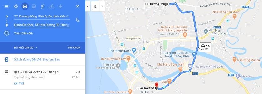 Bản đồ di chuyển từ trung tâm thị trấn tới quán Ra Khơi Phú Quốc