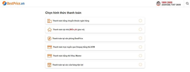Các hình thức thanh toán tại BestPrice.vn