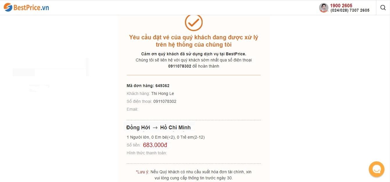 """Thông báo """"Yêu cầu đặt vé thành công"""" từ BestPrice.vn"""
