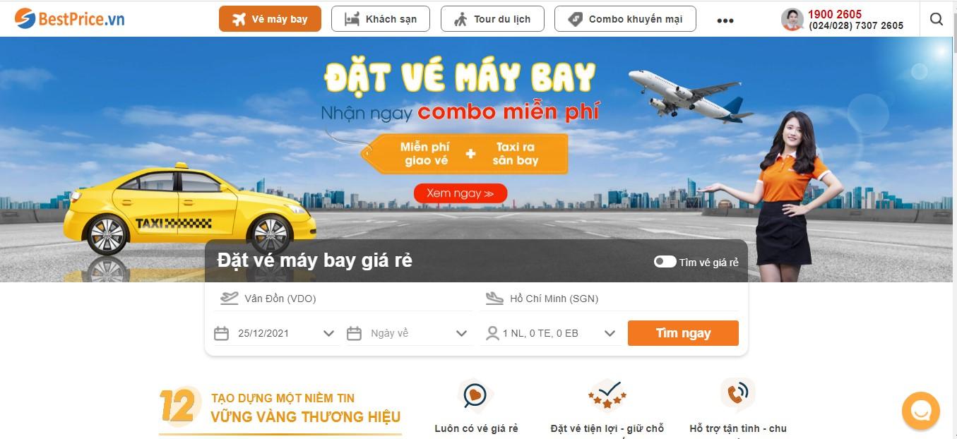 Giao diện đặt vé máy bay tại BestPrice.vn