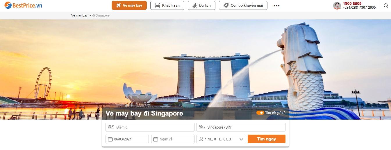 Đặt vé máy bay từ Việt Nam đi Singapore tại BestPrice