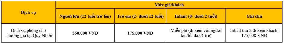 Bảng giá dịch vụ Phòng chờ Thương Gia Bamboo Airways tại sân bay Quy Nhơn