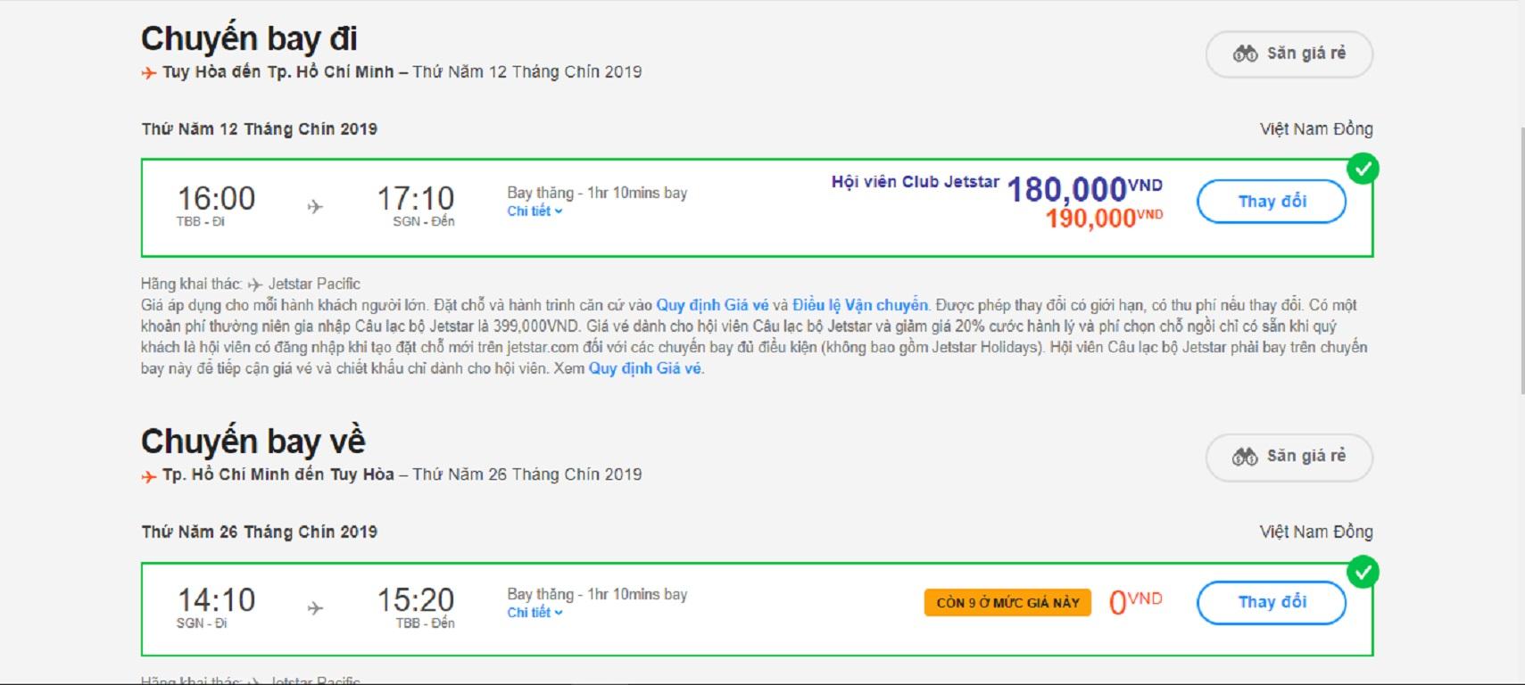 Chặng khứ hồi HCM- Tuy Hòa ngày 12/9 và 24/9  cả thuế phí chỉ 990.000 đồng
