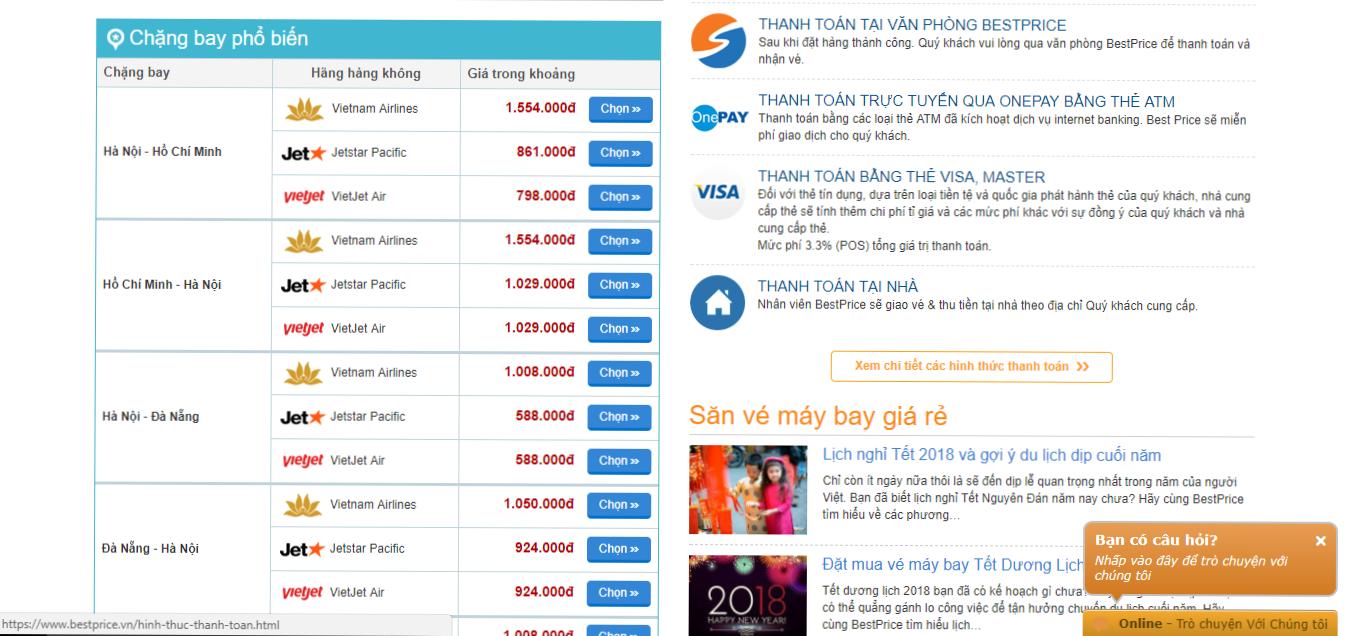 Tìm kiếm và so sánh giá vé từ các hãng
