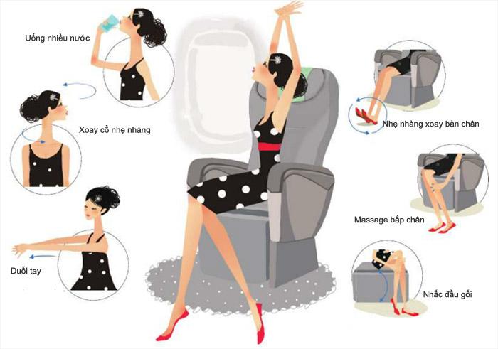 Một vài động tác giúp bạn thư giãn trên máy bay