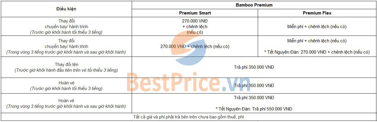Phí hoàn, đổi vé máy bay hạng Phổ thông (Premium) Bamboo Airways