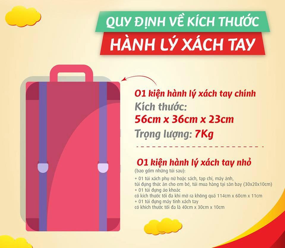 Kích thước hành lý xách tay của Vietjet Air