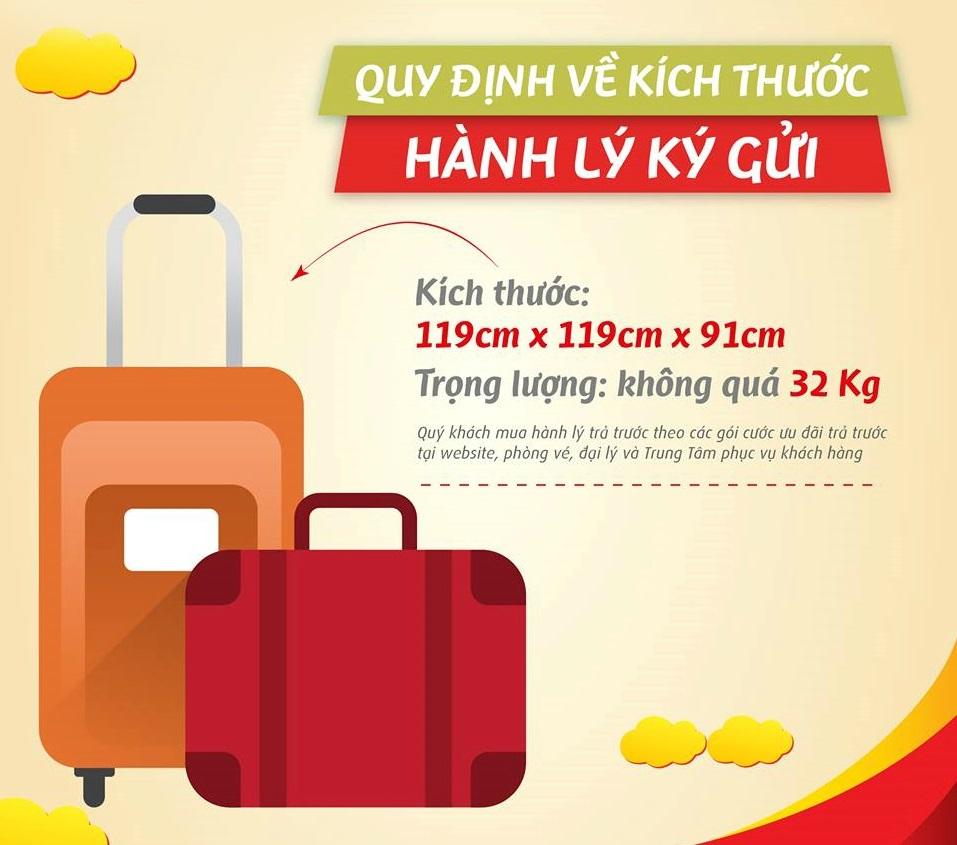 Kích thước hành lý ký gửi của Vietjet Air