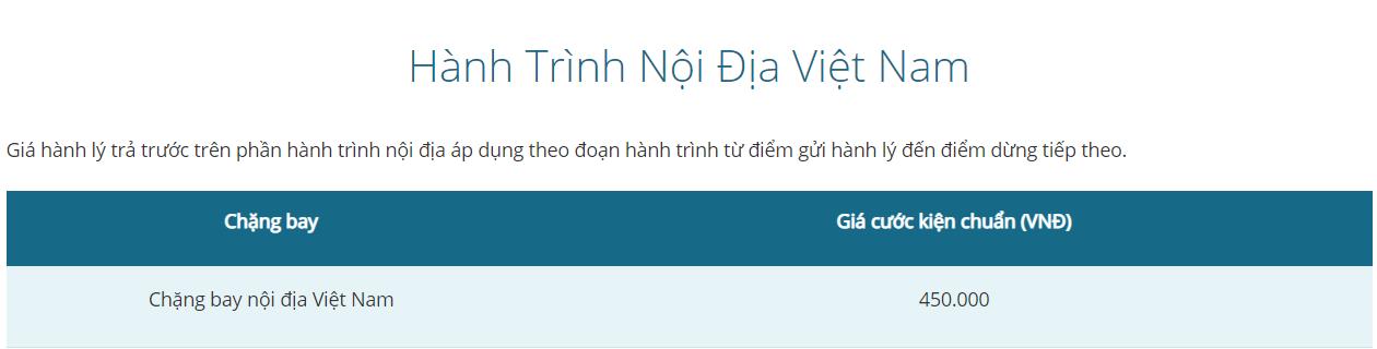 Giá hành lý ký gửi Vietnam Airlines hành trình nội địa