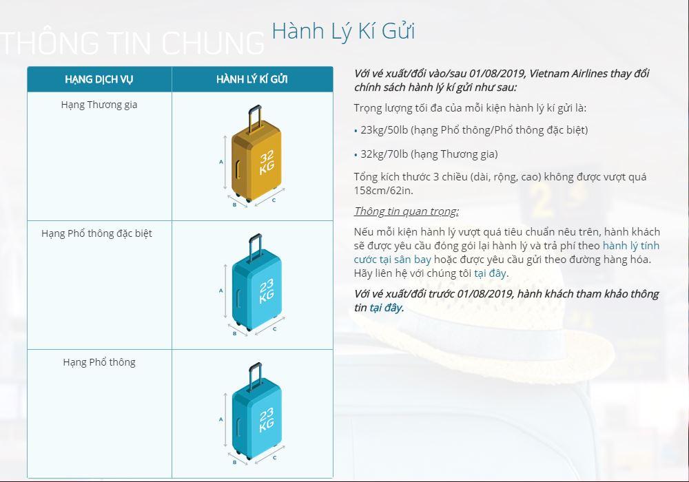 Kích thước và trọng lượng hành lý ký gử hãngVietnam Airlines