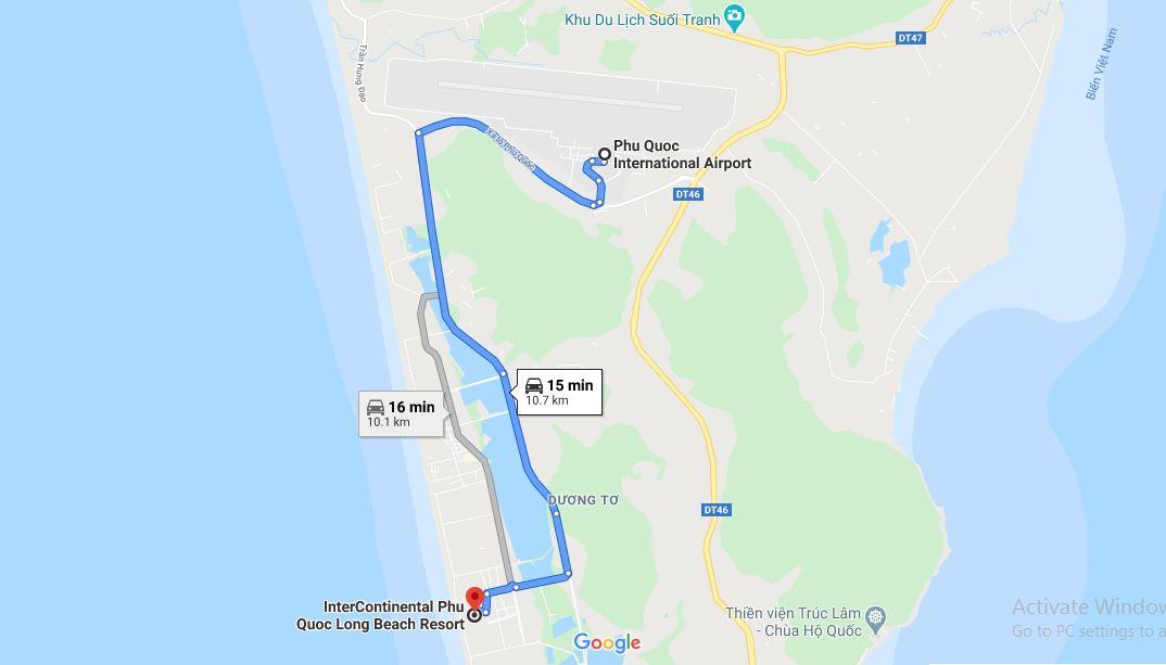 Khoảng cách từ sân bay Phú Quốc tới InterContinental Phú Quốc Long Beach